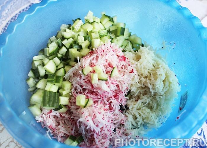 Фото рецепта - Быстрая окрошка с колбасой на квасе - шаг 1