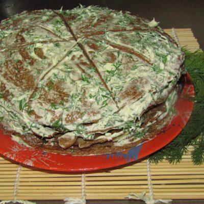 Торт из куриной печени с разными прслойками - рецепт с фото