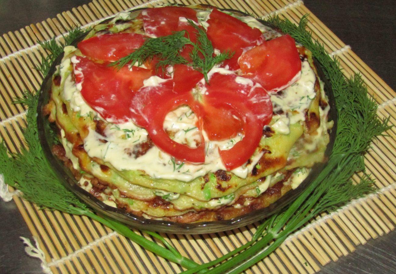 Кабачковый торт с томатами