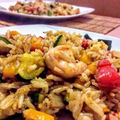 Жареный рис с имбирём, овощами и морепродуктами по-азиатски (ризотто) - рецепт с фото