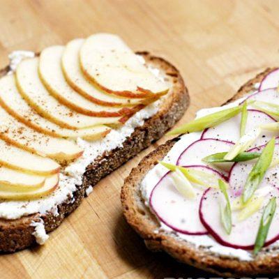 Простые бутерброды с яблоком и редисом - рецепт с фото