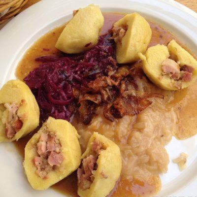 Картофельные галушки с ветчиной - рецепт с фото