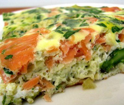 Фриттата с лососем и ароматной зеленью - рецепт с фото