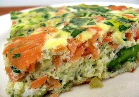 Фриттата с лососем и ароматной зеленью