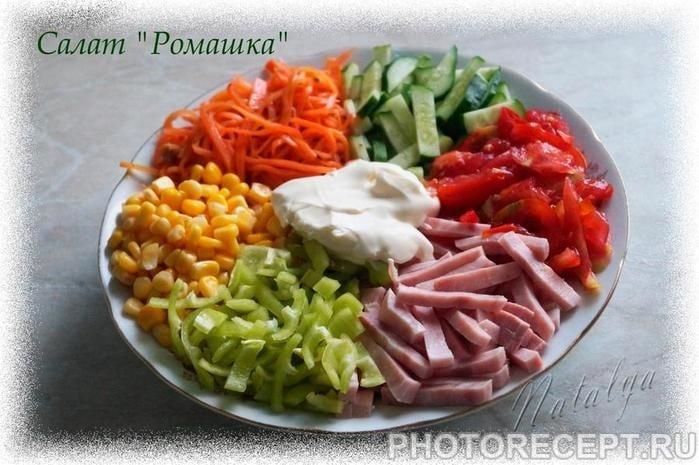 """Фото рецепта - Салат """"Ромашка"""" – прекрасное сочетание сырых овощей и мяса - шаг 5"""
