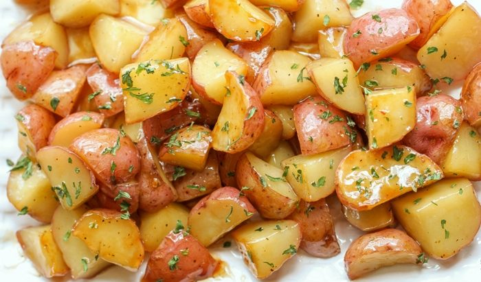 Запеченный молодой картофель, в апельсиновой глазури