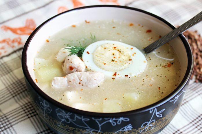 Куриный суп с гречкой и сыром