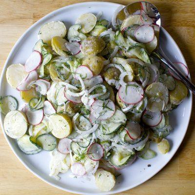 Овощной вегетарианский салат из картофеля - рецепт с фото