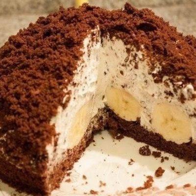 Шоколадный торт с бананами и лимонно-сливочным суфле - рецепт с фото