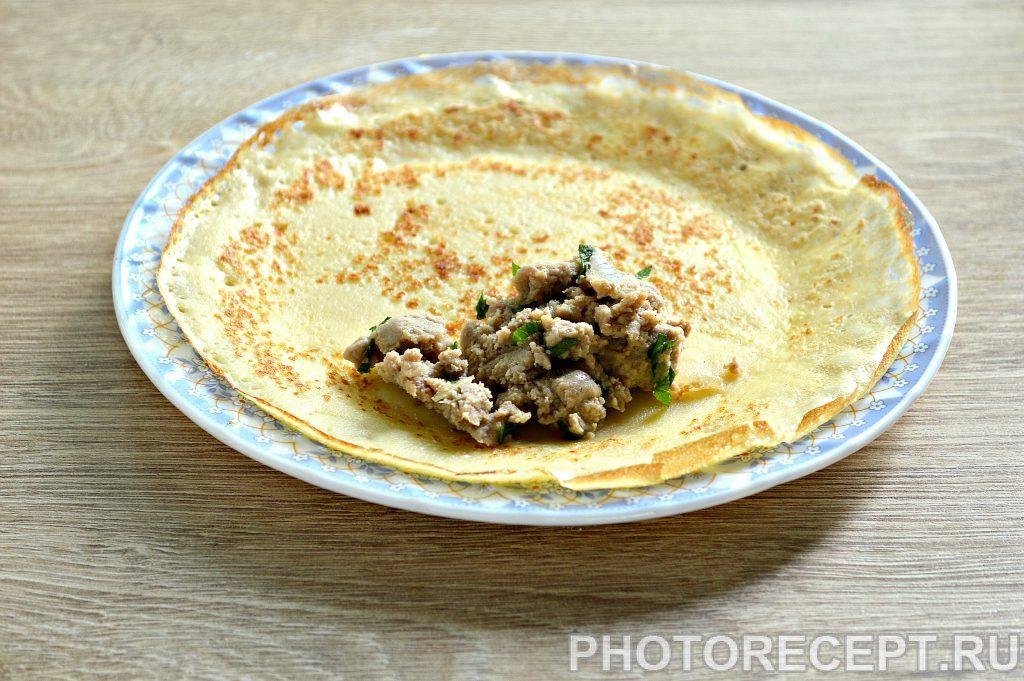 Фото рецепта - Блинчики с начинкой из ливерной колбасы - шаг 4
