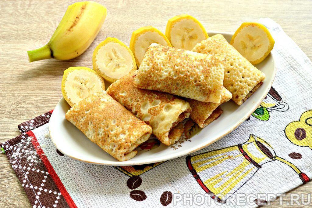 Канапе из блинчиков с бананом - рецепт пошаговый с фото