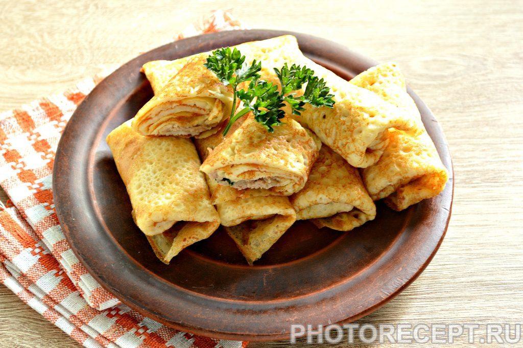 Фото рецепта - Блинчики с начинкой из ливерной колбасы - шаг 6