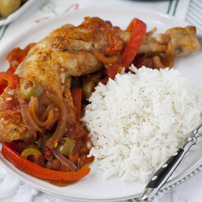 Курица с перцем и оливками по-испански - рецепт с фото