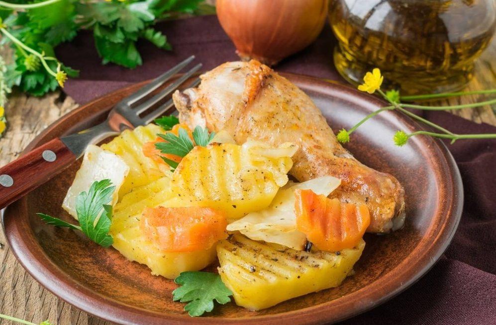 Куриные ножки в рукаве с овощами