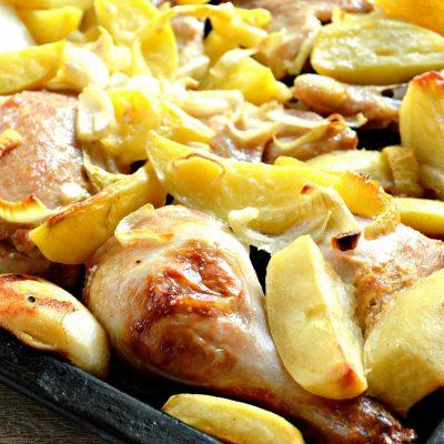 Курица в сырном соусе, запеченная с овощами - рецепт с фото