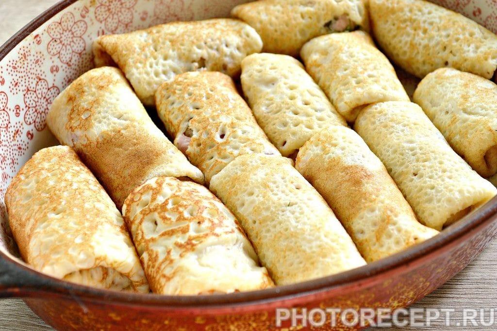 Фото рецепта - Блины с начинкой из копченой курицы и сыра - шаг 6