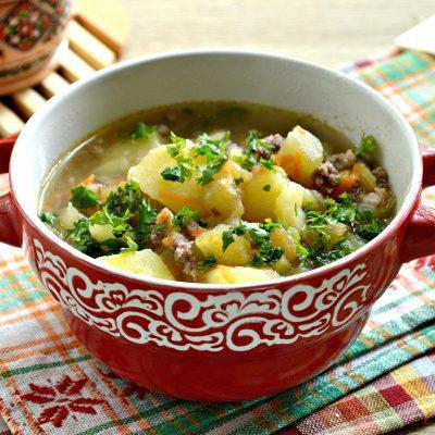 Картофель, тушеный с баклажанами и фаршем - рецепт с фото