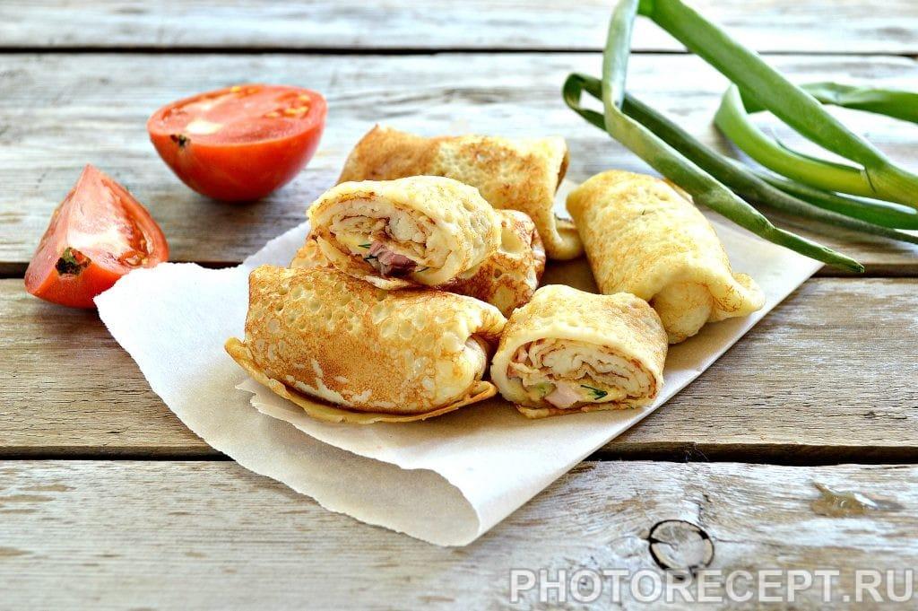 Фото рецепта - Блины с начинкой из копченой курицы и сыра - шаг 7