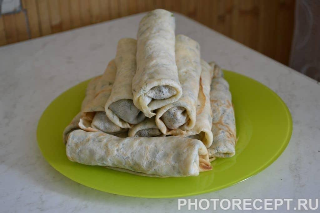 Фото рецепта - Блинчики с печенью и луком - шаг 8
