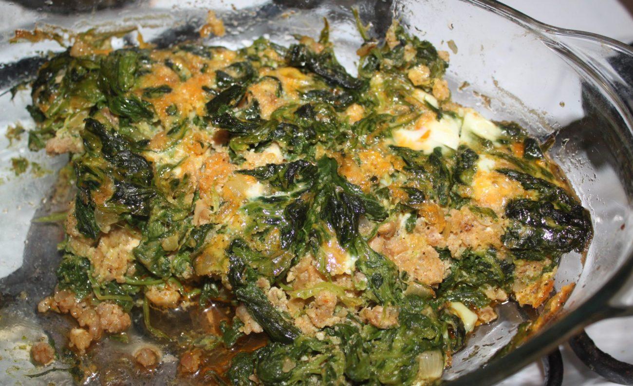 Запеканка с фаршем и шпинатом