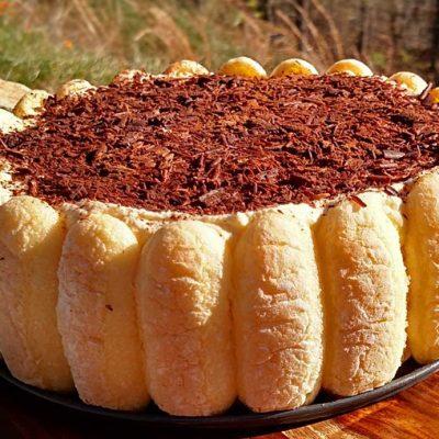 Торт из печенья с шоколадной сырной начинкой, без выпечки - рецепт с фото