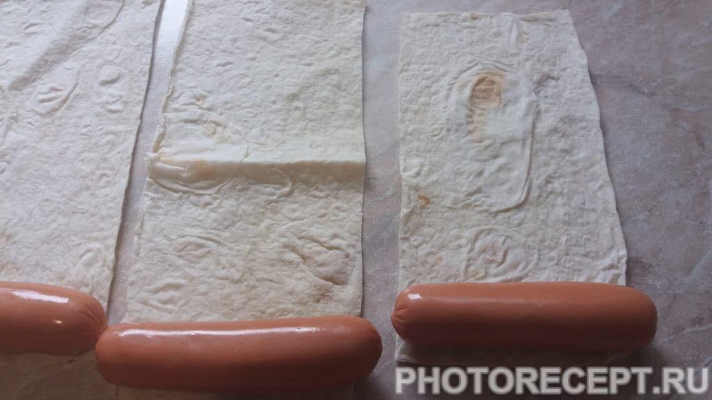 Фото рецепта - Шашлычки из сосисок в лаваше - шаг 2