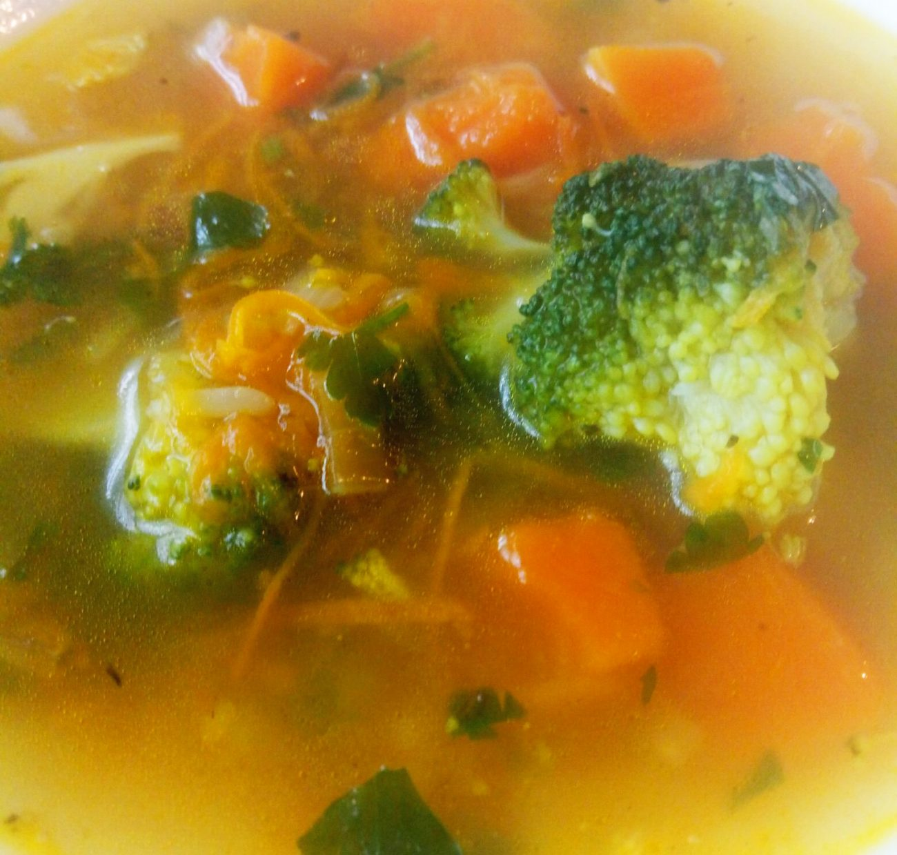 Суп с рисом, брокколи и тыквой
