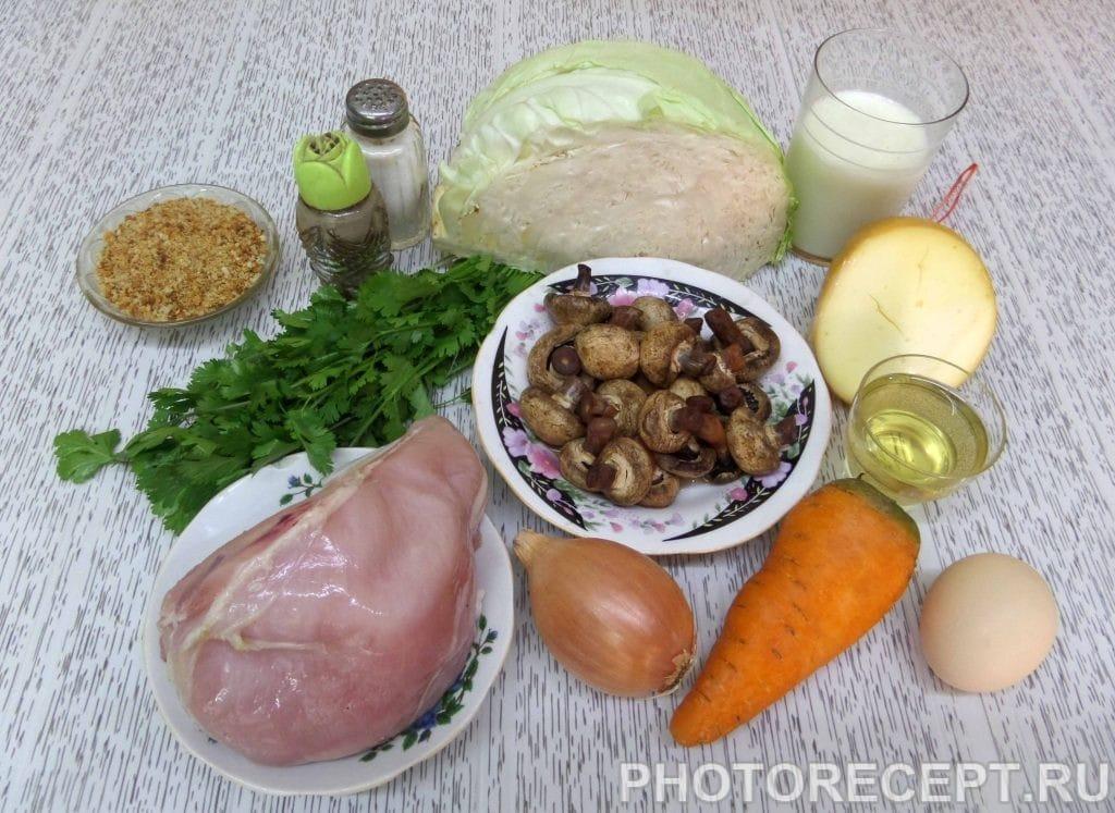 Фото рецепта - Капуста с курицей и грибами в духовке - шаг 1