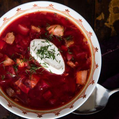 Красный борщ из языка по-польски - рецепт с фото