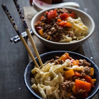 Лагман с овощами и фаршем, в казане - рецепт с фото
