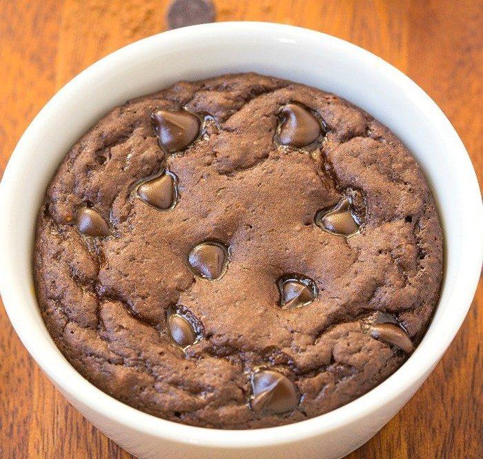 Шоколадный кекс за три минутки в СВЧ