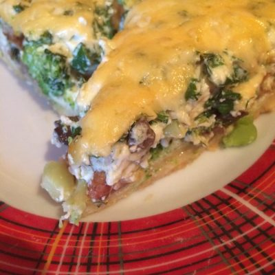 Киш  с грибами и брокколи - рецепт с фото