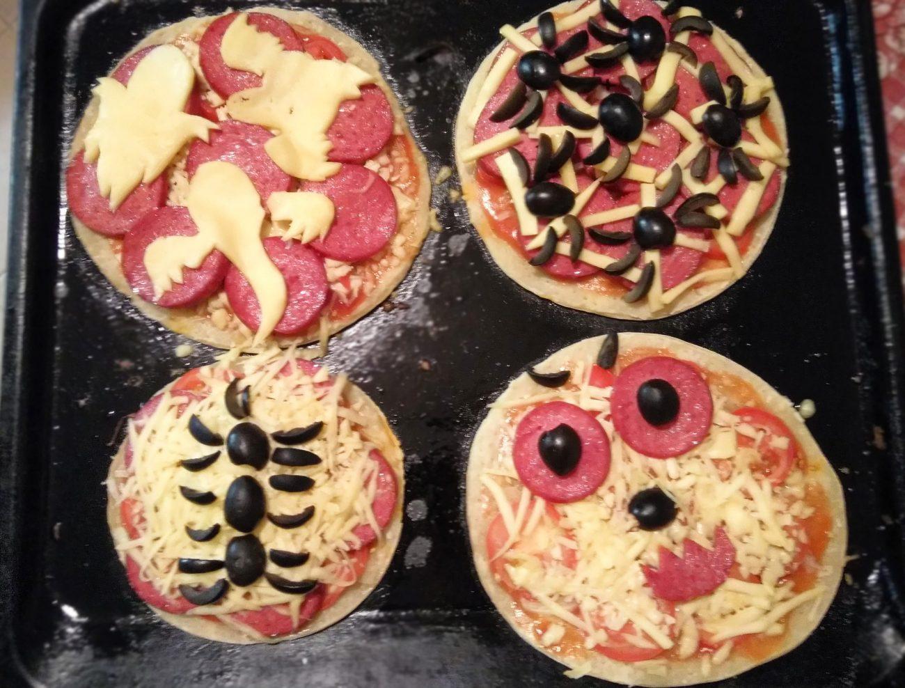 Пиццы-монстры на Хэллоуин