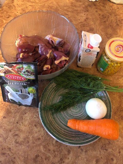 Фото рецепта - Куриные потроха в сливках с консервированной кукурузой - шаг 1