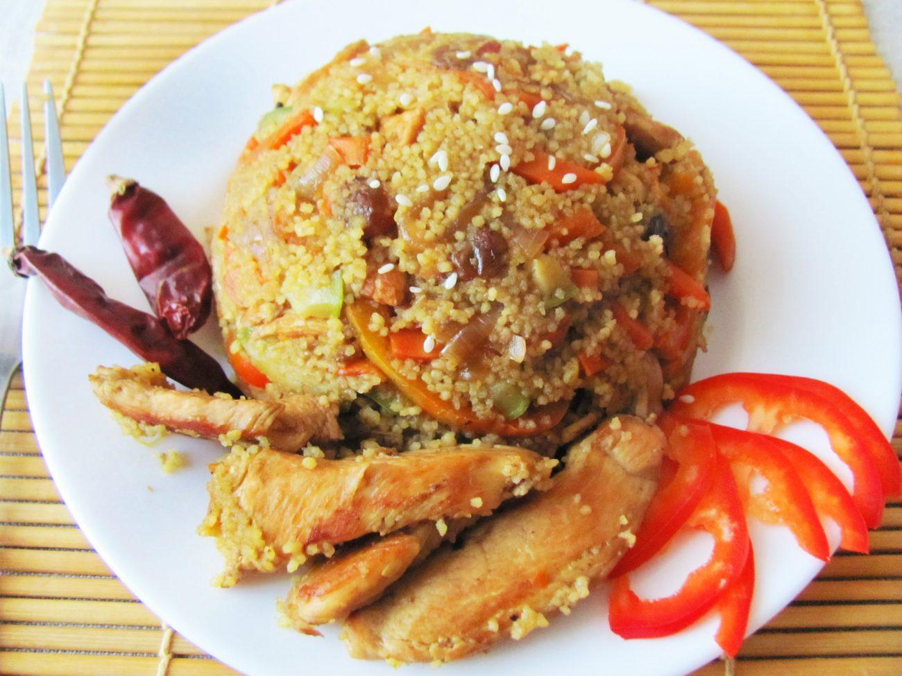 Курица с овощами и кус-кусом
