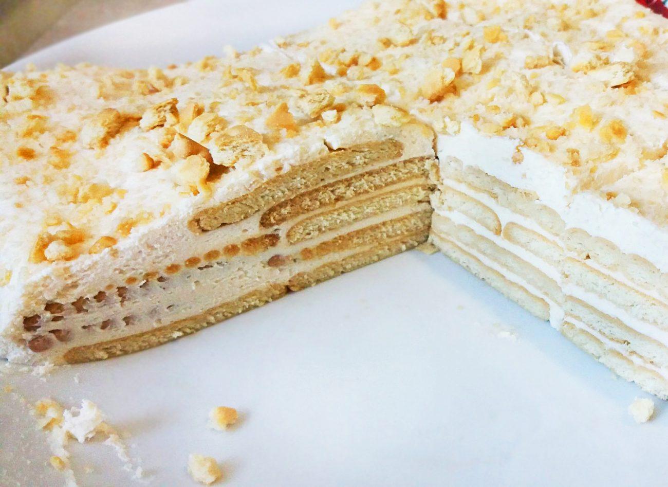 """Торт """"Наполеон"""" из печенья с творогом"""