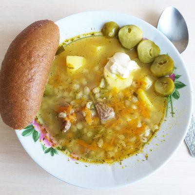 Рассольник с говядиной и солеными огурцами - рецепт с фото
