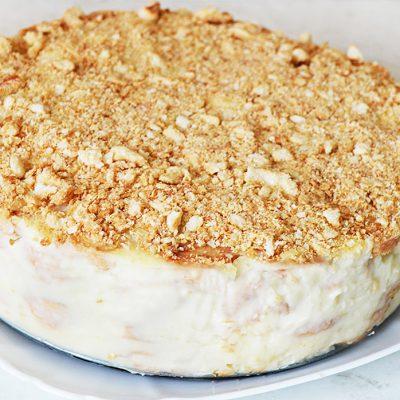 """Торт """"Наполеон"""" из слоеного печенья с заварным кремом - рецепт с фото"""