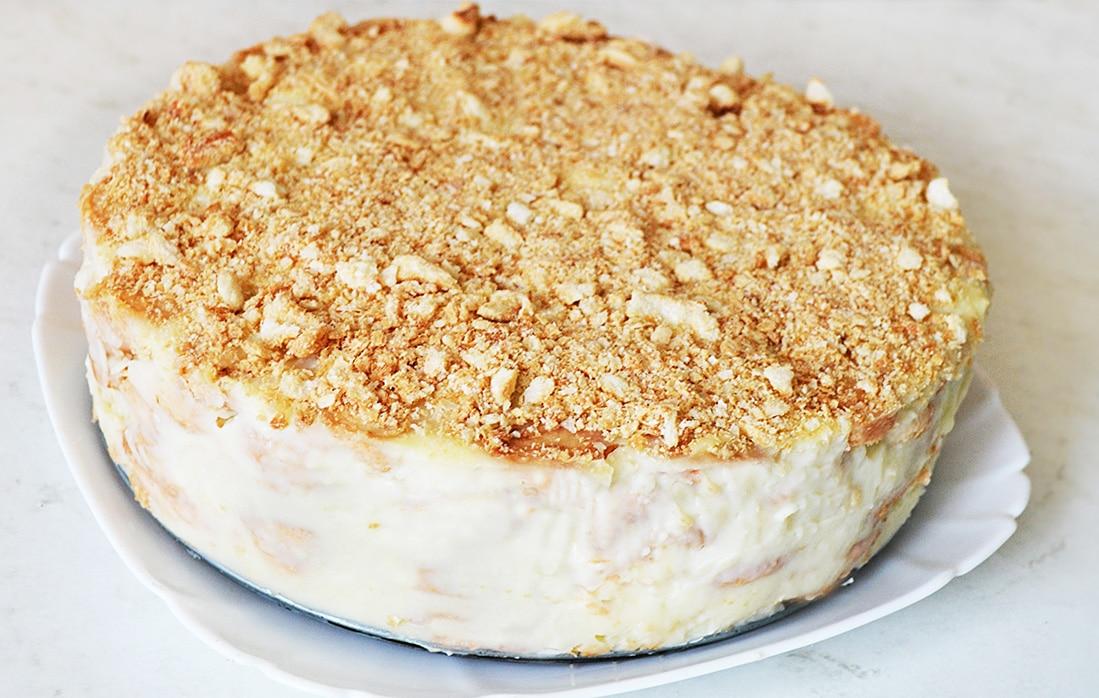 """Торт """"Наполеон"""" из слоеного печенья с заварным кремом"""