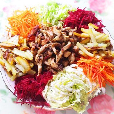 """Овощной салат со свининой """"Чафан"""" - рецепт с фото"""
