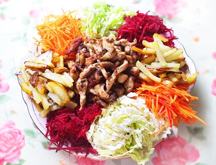 """Овощной салат со свининой """"Чафан"""""""