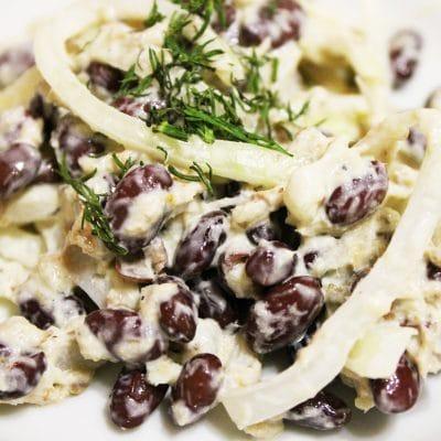 Салат с фасолью и рыбной консервой - рецепт с фото