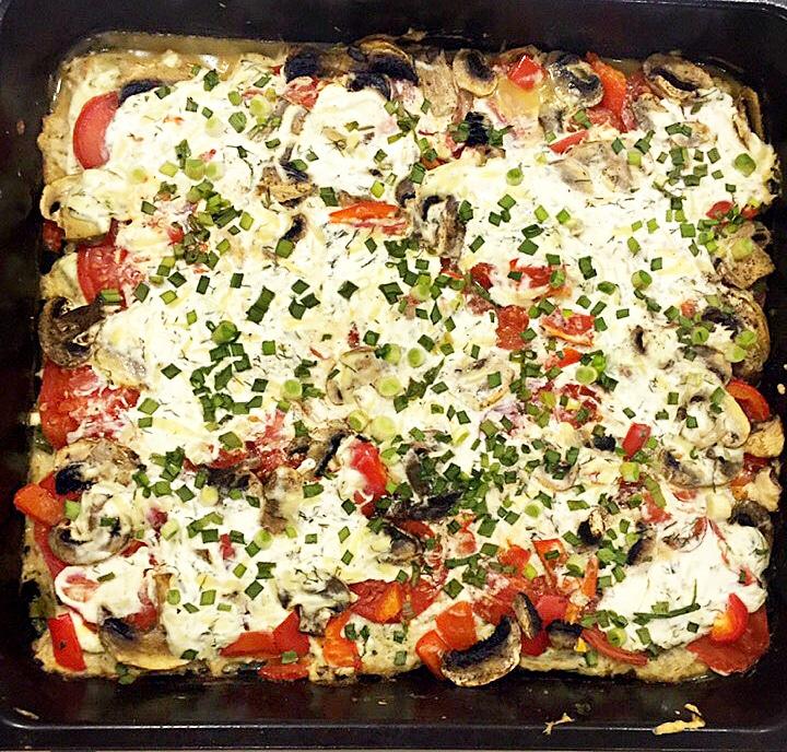 Запеканка-пицца с фаршем и грибами (без теста)