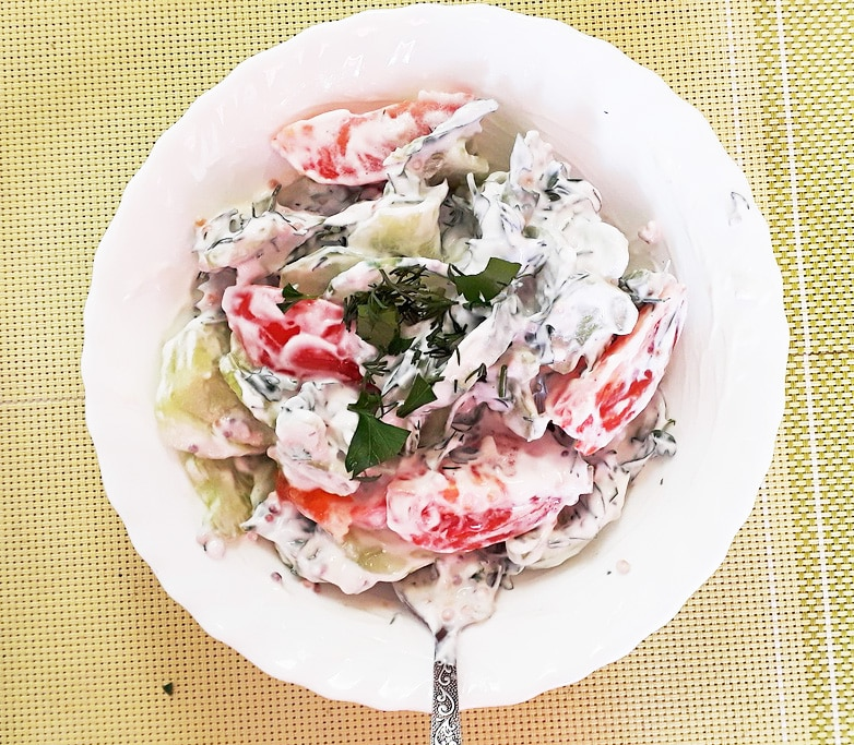 Освежающий овощной салат «Нежность»