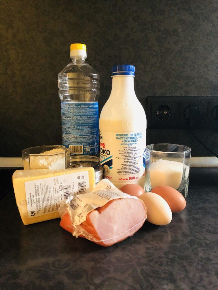 Фото рецепта - Блинчики на молоке, с сыром и ветчиной - шаг 1