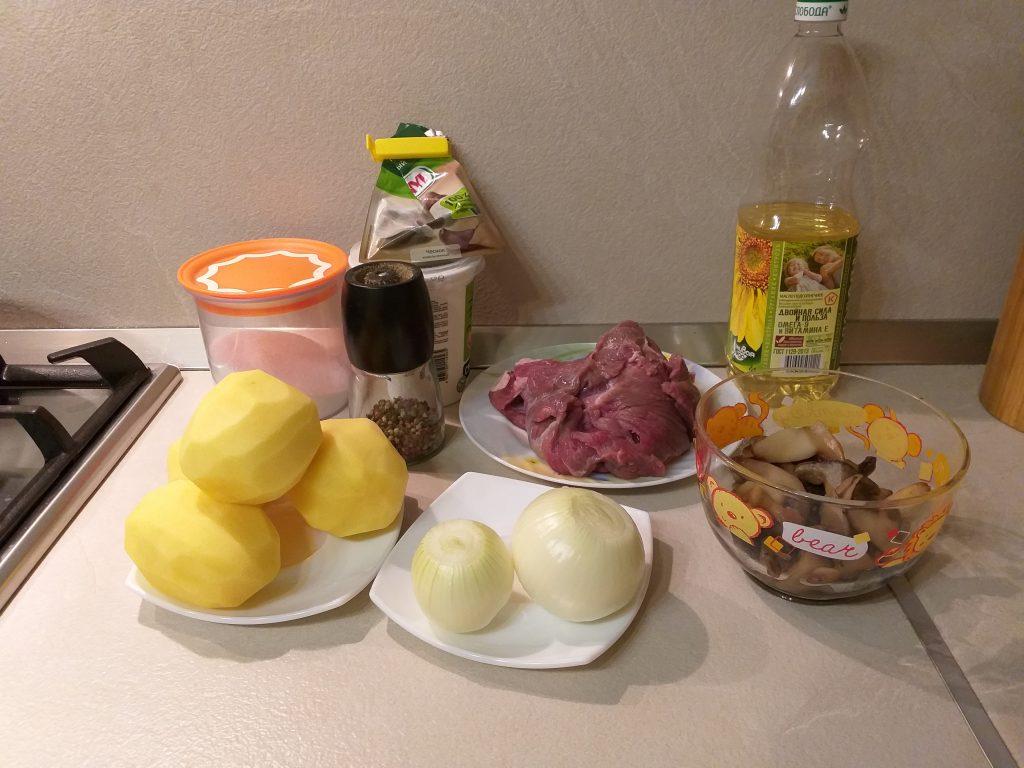 Фото рецепта - Жаркое из говядины с грибами в сметанном соусе - шаг 1