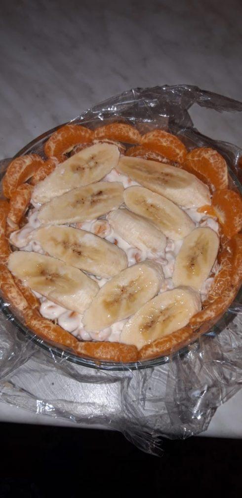 """Фото рецепта - Тортик без выпечки """"Экзотика"""" с бананами и цитрусами - шаг 9"""