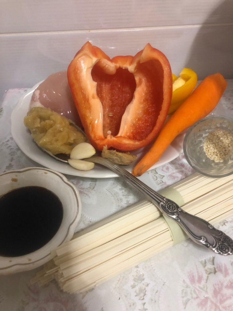 Фото рецепта - Лапша удон с курицей терияки - шаг 1