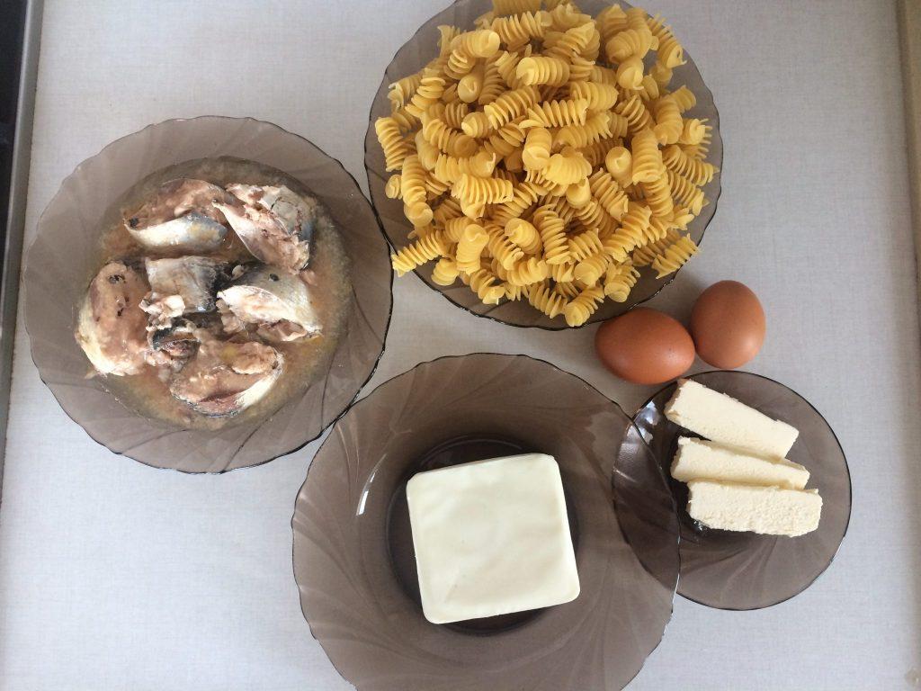 Фото рецепта - Паста с сардиной и сыром - шаг 1