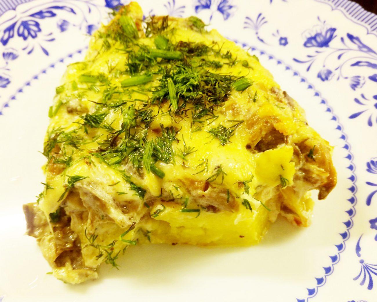 Картофельные дольки в грибном соусе (запеканка)